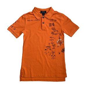 RALPH LAUREN camisa polo laranja mapa 8 anos