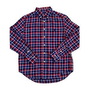 RALPH LAUREN camisa social xadrez azul e vermelho 10-12 anos