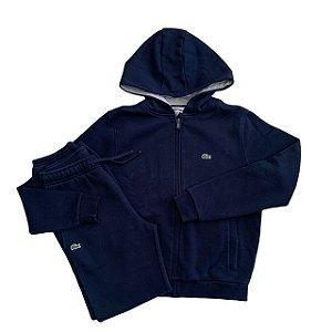 LACOSTE conjunto casaco capuz e calça moletom marinho 12 anos (modelagem pequena)