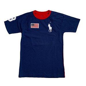 RALPH LAUREN camiseta marinho bandeira 12 anos