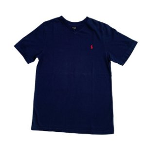 RALPH LAUREN camiseta lisa marinho gola V 10-12 anos