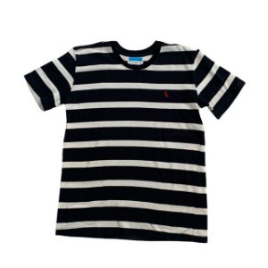 RESERVA MINI camiseta preta listras offwhite 12 anos