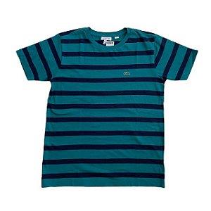 LACOSTE camiseta verde listras marinho 14 anos