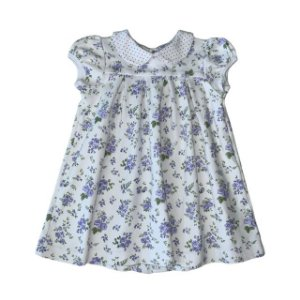 ROBERTA MAGALHÃES vestido malha grossa branco flores lilás TAM GG (1 ano)