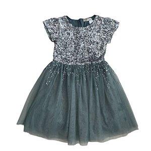 ZARA vestido cinza- verde paetês e tule 9-10 anos