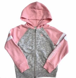 ABERCROMBIE casaco moletom cinza e rosa c capuz 7-8 anos