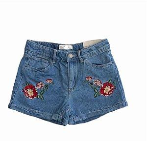 ZARA short jeans bordado flores grande 9 anos NOVO