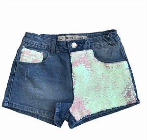 DENIN CO short jeans lantejoulas 10-11 anos