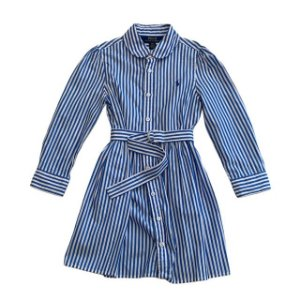 RALPH LAUREN vestido tipo chemise listras azuis 4 anos