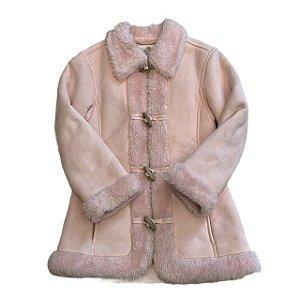 CHEEKY BRAND casaco camurça rosa e forro pelos ( ambos ecológicos) 6 anos