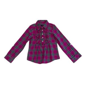 GAP KIDS blusa c babados flanela xadrez rosa S 6 anos