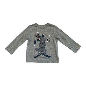 BABY GAP camiseta cinza mg long Dino ski 2 anos