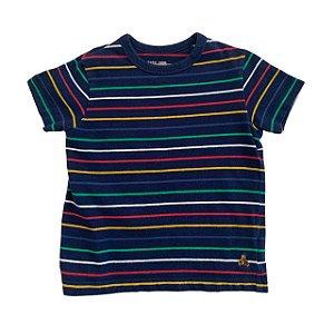 BABY GAP camiseta marinho listras coloridas 2 anos