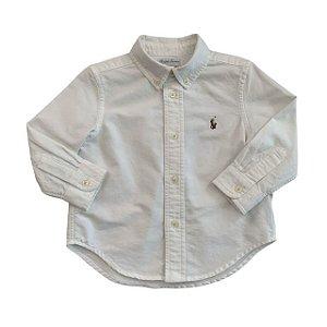 RALPH LAUREN camisa social Oxford branca 18 meses