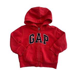 BABY GAP casaco moletom capuz vermelho 12-18 meses (apresenta marcas de uso)