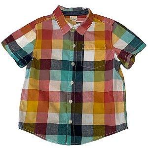 GYMBOREE camisa social xadrez amarelo e laranja mg curta 4 anos