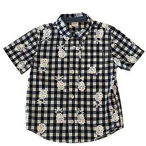 GYMBOREE camisa social xadrez preto estp abacaxi mg curta 3 anos