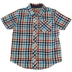 GYMBOREE camisa social xadrez turquesa e vermelho mg curta 3 anos