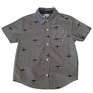 GYMBOREE camisa social cinza estp aviões mg curta 3 anos