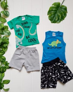 Conjunto Infantil Masculino - Camiseta + Regata + 2 Bermudas - Combo 4 peças