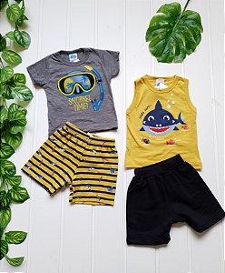Conjunto Infantil Masculino - Regata + Camiseta + 2 Bermuda - Combo 4 peças