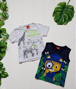 Camiseta Infantil Masculina - Combo 2 peças Floresta