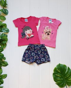 Conjunto Infantil Feminino - 2 Blusas + Short - Combo 3 peças