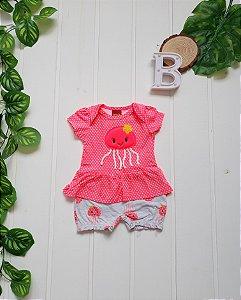 Macacão Curto Bebê Menina Neon