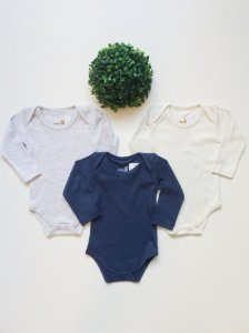 Combo 3 Body Bebê Liso Manga Longa
