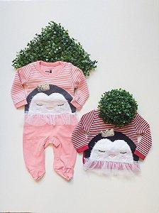 Macacão Longo Bebê Suedine Tule