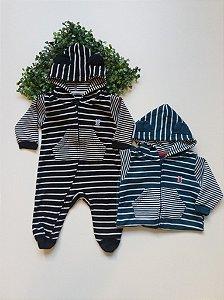 Macacão Longo Bebê Suedine Listas