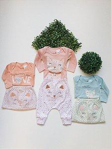 Conjunto Bebê Feminino Gatinho Body + Calça
