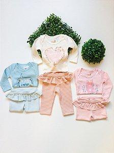 Conjunto Bebê Body + Calça Feminino Frase