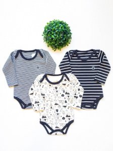 Combo 3 Bodys Bebê Estampados Manga Longa