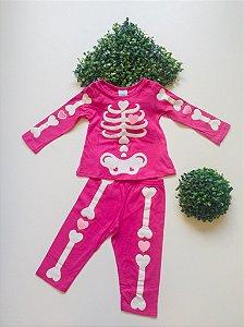 Pijama Esqueleto 1 a 3 Fem Longo - Kyly