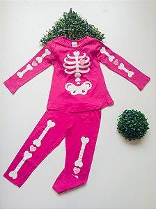 Pijama Esqueleto 4 a 8 Fem Longo - Kyly