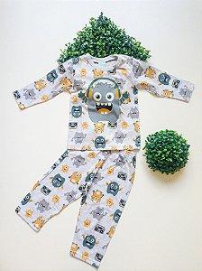 Pijama Monstrinhos 1 a 3 Masc Longo - Kyly