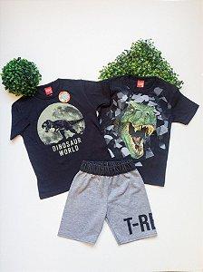 Combo Dino Conjunto + Camiseta - 4 a 8 Masculino