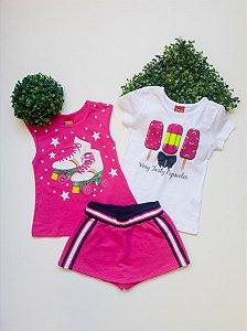 Combo Pink Conjunto + Regata - 4 a 8 Feminino