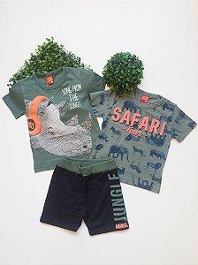 Combo Safari Conjunto + Camiseta - 1 a 3 Masculino