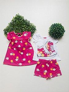 Combo Floral vestido + Conjunto Bebê Feminino