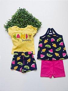 Combo Frutas 2 Conjuntos Bebê Feminino