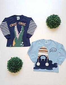Combo Bichos 2 Camisetas 1 a 3 Masc - Bicho Bagunça