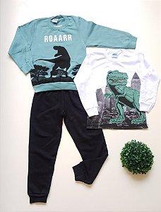 Combo Dino Camiseta + Conjunto 4 a 8 Masc - Bicho Bagunça