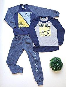 Combo Bike Camiseta + Conjunto 4 a 8 Masc - Bicho Bagunça