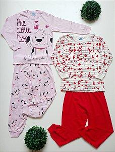 Combo 2 Pijamas Divertidos 4 a 8 Fem - Bicho Bagunça