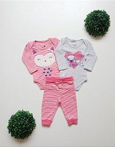 Combo Coruja 2 Bodys + Calça Bebê Fem - Kiko Baby