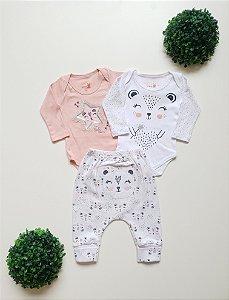 Combo Ursa 2 Bodys + Calça Bebê Fem - Kiko Baby