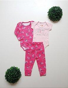 Combo Body Curto + Body Longo + Calça Bebê Fem - Kiko Baby