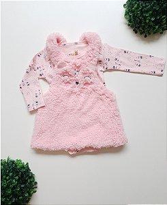 Jardineira Urso + Body Bebê Fem - Kiko Baby